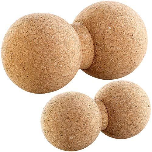 newgen medicals Massage-Doppelkugeln: 2er-Set Massage-Duobälle & Faszien-Trainer, Kork, Ø 6,5/8 cm (Massagedoppelball)