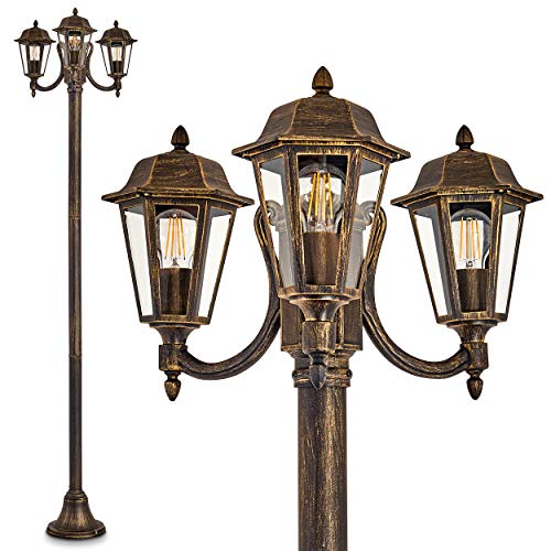 Außenleuchte NATAL, Kandelaber in antikem Look, Aluguß in Schwarz/Gold mit Klarglas-Scheiben, 3-armige Wegeleuchte 210 cm, Retro/Vintage Gartenlampe, E27-Fassung, je max. 60 Watt, IP44