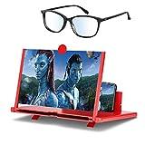 Aso Amplificatore dello Schermo 3D Rosso e Occhiali Lente Ingrandimento Smartphone Magnifier Screen Lente Pieghevole HD Portatile 12 Pollici Amplificatore Video