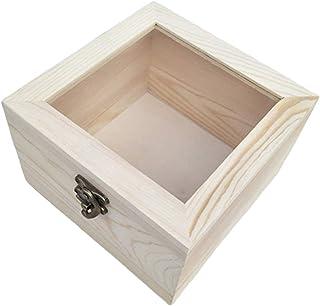 Generic Boîtes à Bijoux Présentoir Verrouillable Boîte de Rangement Boîte de Cadeau en Bois 6 Tailles au Choix - 9x9x4.5cm
