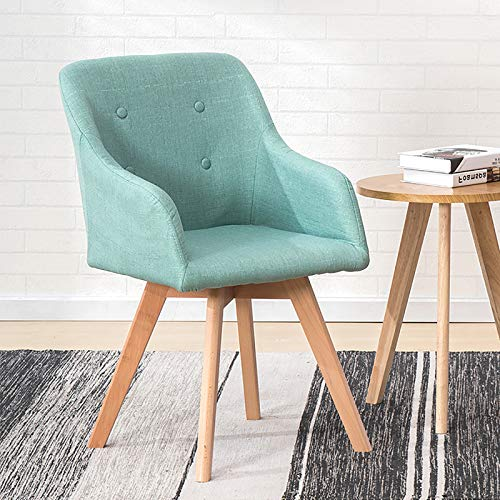 Modern Dinner Chair,Home Office Chair Ergonomic Computer Chair Upholstered Desk Chair with Solid Wood Legs,Comfortable Armchair Linen Swivel Chair for Bedroom Living Room-Cyan 43x43x80cm(17x17x31inch)
