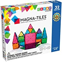 Magna-Tiles 32-Piece Clear Colors Set, The Original, Award-Winning Magnetic Building Tiles for Kids, Creativity and...