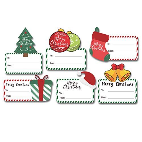 120 PCS Large Size Christmas Holiday Name Tags Stickers, 6 Designs Christmas Self Adhesive Tag Stickers, Christmas Packaging Tags Labels Decoration