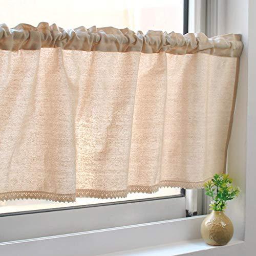 Unimall Kaffee Vorhang Scheibengardine Bistrogardine mit Spitzen B x H: 135 x 40 cm