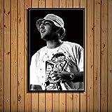 zhuifengshaonian Mac Miller Rap Hip Hop música Estrella Cantante Arte Pintura Lienzo póster Pared decoración del hogar Obra de Arte(ZE-721) Sin Marco Poster 40x60cm