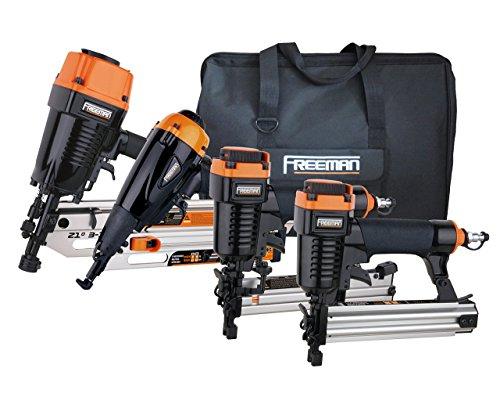 Freeman P4FRFNCB Pneumatic Framing and Finishing Combo Kit with Canvas Bag (4-Piece) Nail Gun Set with Framing Nailer, Finish Nailer, Brad Nailer, and Narrow Crown Stapler (Renewed)