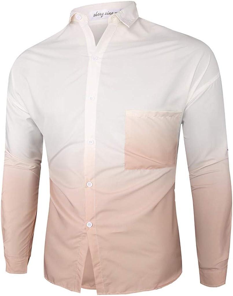 Men's Casual Long Sleeve Slim Fit 3D Printing Shirt Blouse Top