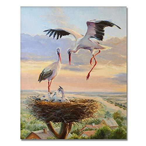 Lazodaer - Kit de pintura de diamante 5D para adultos y niños, para decoración de pared del hogar, grúa alada, 30 x 39,8 cm
