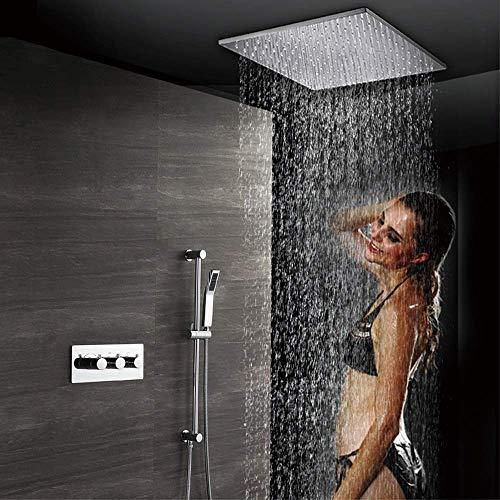 KANJJ-YU Juego de ducha de baño completo de cobre en caja de válvula con varilla de elevación 500 x 500 grifo de ducha con rociador superior de suministro de agua cromado