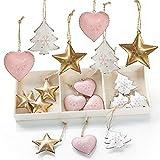 Logbuch-Verlag 18 pequeños colgantes de metal para árbol de Navidad con forma de corazón + estrella + árbol rosa oro blanco – adornos para colgar