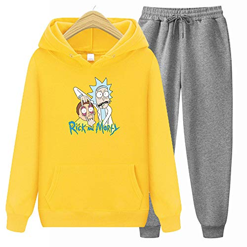GFQTTY Rick and Mortys Hoodie Top, Casual Sweatpants Set 3D Print Long Sleeve Jumper for Mens and Ladies,Yellow,L
