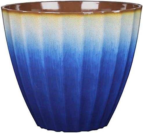 lowest allen + roth 11.38-in W new arrival high quality x 10.39-in H Blue Resin Planter sale