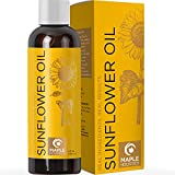 Sunflower Oil for Hair Skin and Nails - Aromatherapy Carrier Oil for Essential Oils Mixing and Hair Oil - Body Massage Oil Cleanser for Face Anti Aging Skin Care and Moisturizing Body Oil for Dry Skin