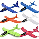 BooTaa 6 Pack Airplane Toys, 17.5' Large Throwing Foam Plane, 2 Flight Mode Foam Gliders, Birthday for Kids 3 4 5 6 7 8 9 10 11 12 Year Old Boys Kids Girls, Outdoor Yard Game Toys