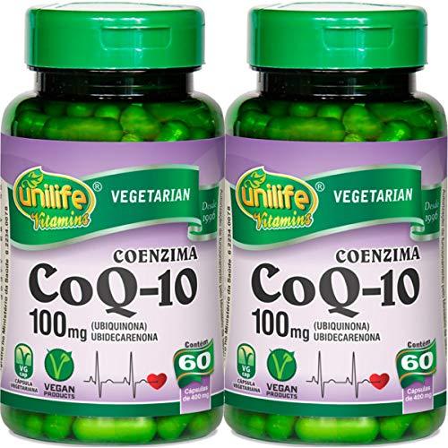 Kit com 2 Frascos de Coenzima Q-10 100mg Unilife 60 capsulas