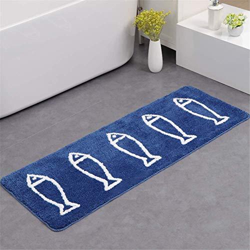 JameStyle26 - Tappetino antiscivolo per bagno, ad asciugatura rapida, adatto anche per la cucina, motivo: pesce, colore: blu/bianco, Poliestere, Blu, 45 x 120 cm