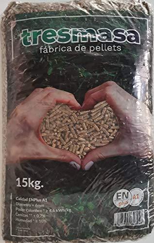 Pellet de madera de pino | Saco de pellets 15 kg | Combustible para Estufa Biomasa | Pellets certificado para calcera de...