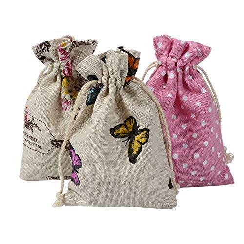 Sac en tissu à motif de fleurs, sac à charbon de bambou, sac vide avec cordon de serrage, sac en coton 10 x 14 cm