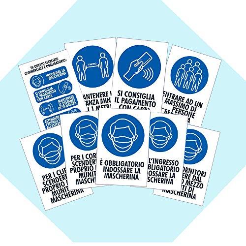 Pack 9 cartelli adesivi Covid 19 AGGIORNATI - Regole di sicurezza -...