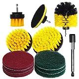 bansd 12 Piezas Kit de Cepillo de Taladro eléctrico Cepillo de Limpieza Redondo de plástico Cepillos de Nailon Amarillo