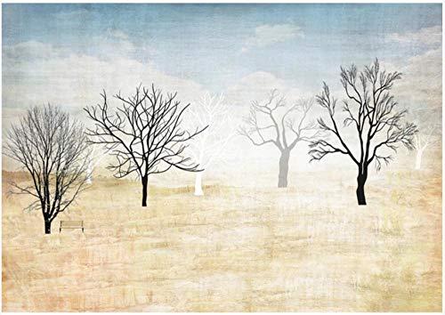 Fotomurales Selva de invierno azul gris amarillo negro Papel pintado tejido no tejido Decoración de Pared decorativos Murales moderna Diseno Fotográfico 450x300 cm -9 pieces
