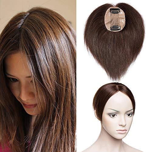 TESS Pony Haarteil Topper Clip in Extensions Echthaar Toupee Haarverlängerung Lace Front Closure Toupet für Frauen 16