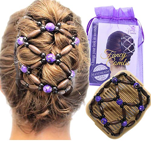 FANCY COMBS USA Wooden Thick Hair Clips - Premium Beaded Hair Accessories for Women – Bun Holder Ponytail and French Twist Styler | Best Decorative & Easy Comb Holds Hair All Day (Beige, Purple Beads)