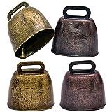 Campanas de Cobre, Hilloly Campanas de Bronce, Campana de bronce Campana Vintage Campanas de Animales Muy Ruidoso Pastor Cencerro Campana Decoración de Bricolaje (4 piezas)