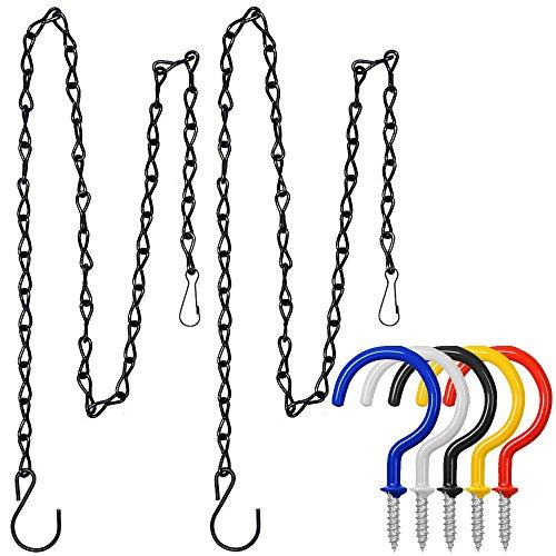 Finegood 2 pièces Chaînes à suspendre 88,9 cm avec 5 pcs Crochets, chaîne en métal Cintre pour mangeoires, pots de fleurs, lanternes, CS Review, Pot de fleurs de jardin extérieur – Noir