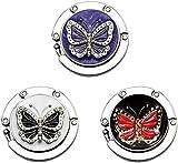 Premewish 3 Stück Faltbare Handtasche Hange, Handtaschenhalter mit Schmetterling, klappbare...