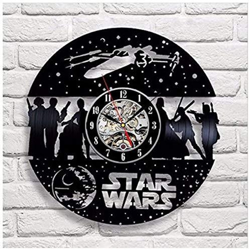 HLJ CW Star Wars Wanduhr Vinyl Schallplatte Retro-Uhr Groß Uhren Style Raum Zum Aufhängen Dekorieren Sie Ihr Zuhause Mit Modernem