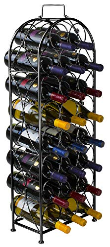 Sorbus Wine Rack Bordeaux Chateau Style - Holds 23 Bottles - Minimal Assembly (Black)