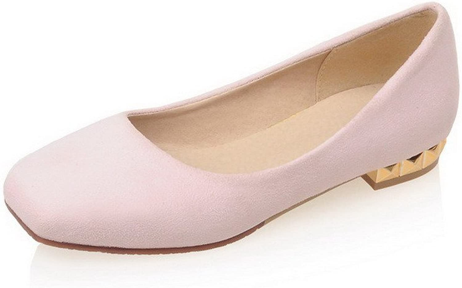 WeenFashion Women's Pull-on Low-Heels Imitated Suede Solid Square Closed Toe Pumps-shoes