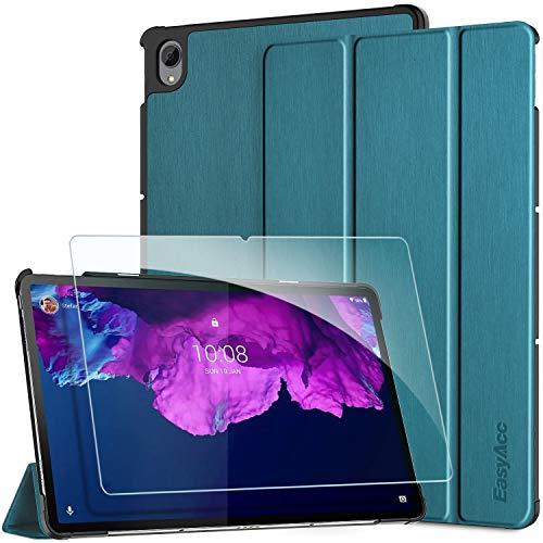 EasyAcc Funda Compatible con Lenovo Tab P11 TB-J606 con Vidrio Templado Protector de Pantalla, Ultradelgado con Función de Soporte de Funda Delgada Auto Sleep/Wake Up,Azul eléctrico