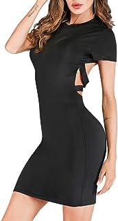 Vestido de Abrigo de Cadera para Mujer Falda de Correa Cruzada Retro Elegante Mochila Expuesta Delgada Ropa para Mujer Niñas 2020 Primavera (S)
