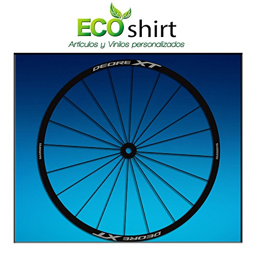 Ecoshirt AL-QM7U-LVFA Pegatinas Stickers Llanta Rim Shimano Deore XT Am49 MTB Downhill, Plata 29'