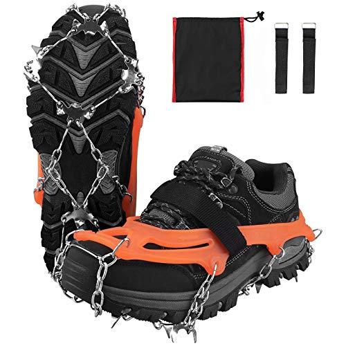 Karanice Steigeisen Schuhkrallen für Bergschuhe mit 19 Edelstahl Zähne Spikes Ice Klampen Grödel für Schuhe Schneekette Klettern Bergsteigen