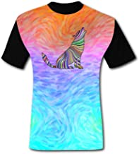 Colorful Screaming Wolf Black Short-Sleeved Fashion T-Shirt