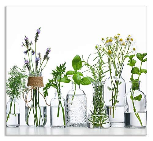 Artland Spritzschutz Küche aus Alu für Herd Spüle 60x55 cm Küchenrückwand mit Motiv Pflanzen Kräuter Gewürze Lavendel Basilikum Blumen H9KE