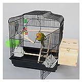 Tingting1992 Casas para Pájaros Parrot Jaula Villa de Lujo Cría de pájaros Metal Grande con cajones Adecuado para Aves Pequeños Loros y Palomas Jaula para Mascota (Color : Black)