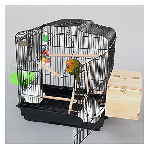 wanhaishop Pájaros Jaulas Parrot Jaula Villa de Lujo Cría de pájaros Metal Grande con cajones Adecuado para Aves Pequeños Loros y Palomas Jaula de Aves (Color : Black)