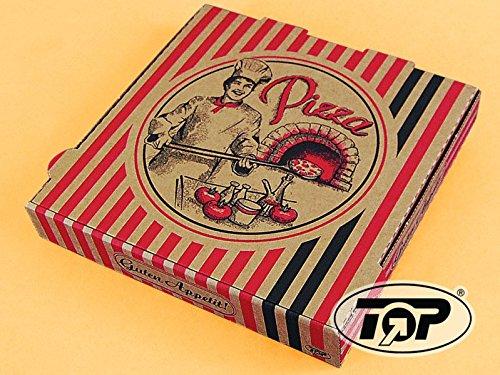 TOP Marques Collectibles 100 Pizzakartons Pizzaboxen braun NYC New York 4,2cm hoch Pizzabäcker Verschiedene Größen zur Auswahl (36x36x4.2cm)