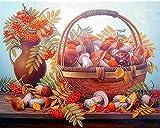 Kit de punto de cruz para adultos-DIY Cross Stitch estampado costura patrón de bordado Imágenes regalo-11CT Lienzo preimpreso-Cesta de flores con setas de frutas