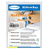"""HiNewBay Twin Mattress Bags for Moving,6Mil Heavy Duty Triple Thick Mattress Bag, Waterproof Puncture Resistant Bag with Two Extra Wide Adhesive Strips, Storage or Disposal W39H15L92"""""""