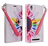 Galaxy Wireless Compatible for ZTE ZMAX Z970 Case Slim Magnetic Wallet Leather Flip Cover Case for ZTE ZMAX Z970 (TMOBILE/Metro) (Sun Flower Wallet Pouch)