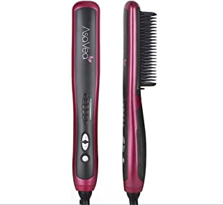 Hair Straightening Brush 2, Anti-scald Patented Design, PTC Heating Technology, 30 Mins Auto Shut Off, Great Styler At Home, Red/Black