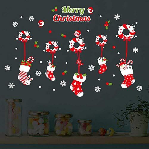 HNIMLL - Adhesivos decorativos para pared, diseño navideño con calcetines y centro comercial, cristal para ventana, habitación de los niños, dormitorio, papel adhesivo, se pueden quitar 2 unidades