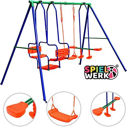 Deuba Schaukelgerüst   Kinderschaukel   bis 250kg max.   mit Montagematerial & Bodenanker   Gartenschaukel Schaukelwippe Tellerschaukel für Kinder