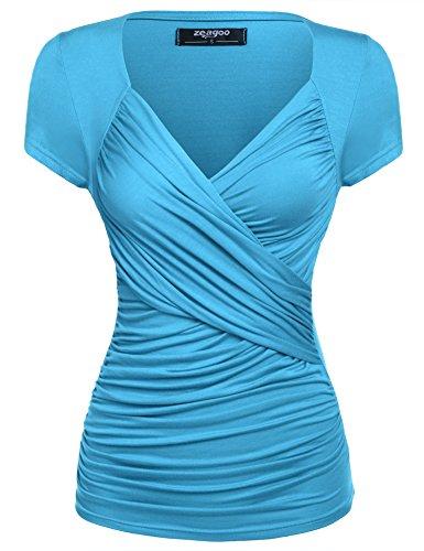 Zeagoo Damen Sommer Sexy T-Shirt V-Ausschnitt Kurzarm Tunika Shirt mit Falten Blusen Oberteile, 1_hellblau, XXL