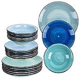 18 tlg Set Design Porzellan Geschirr Speiseteller , Suppenteller ,Kuchenteller handbemalt in Top Qualität für Ihre liebsten Speisen (Blautöne)